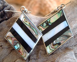Vintage Mexican Silver Black Abalone Mother of Pearl Earring - $27.95