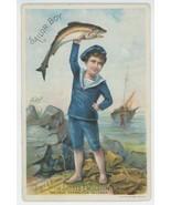 Sailor Boy Scott Brown Victorian trade card Scotts Emulsion patent medic... - $9.99