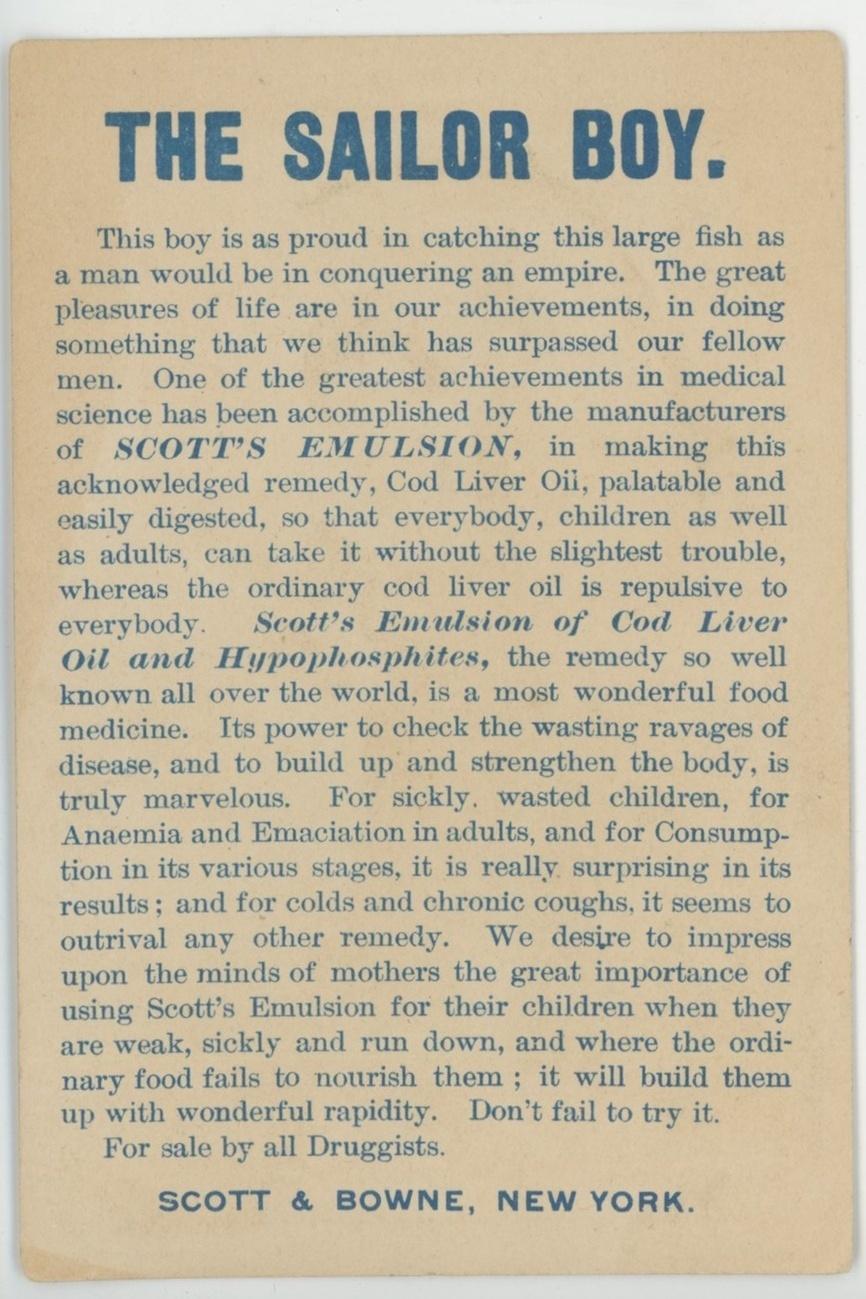 Sailor Boy Scott Brown Victorian trade card Scotts Emulsion patent medicine fish