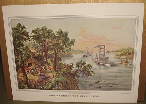 Currier   ives  low water in the mississippi
