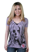 Cardboard Robot Good Cabeza Mujer Lila Púrpura Cuello En V Camiseta Pequeño Nwt