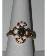 Haunted Gold Tone Cross Ring with A Green Stone - $19.00
