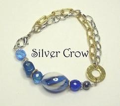 Blue Lampwork, Glass & Crystal Chain Style Bracelet - $13.99