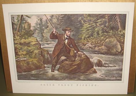 Currier & Ives Print- ROOK TROUT FISHING Camp Boat