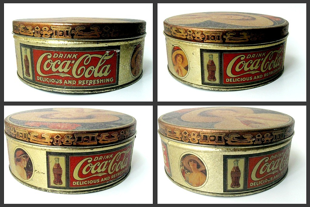 Coca Cola vintage tin with pretty lady in hat. 1984.