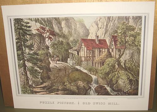 Currier  puzzle picture old swiss mill
