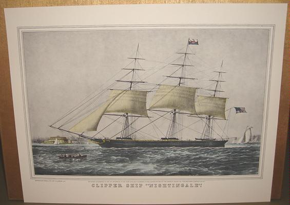 Currier & Ives Print CLIPPER SHIP NIGHTINGALE Ocean