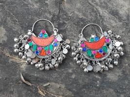 orange chandabali afghan earrings gypsy earrings vintage ethnic banjara ... - $29.99