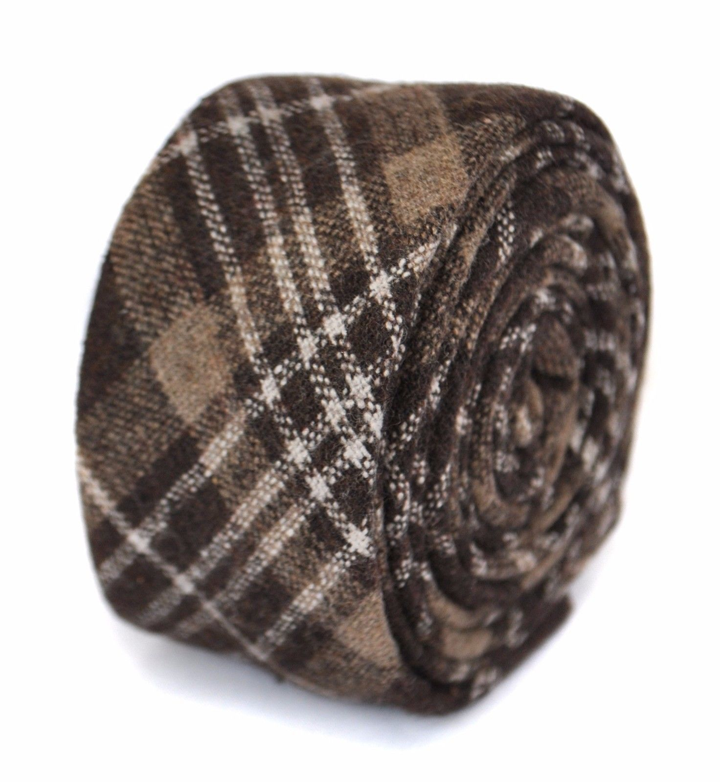 Frederick Thomas mens wool tweed tie in brown black and white check FT1951
