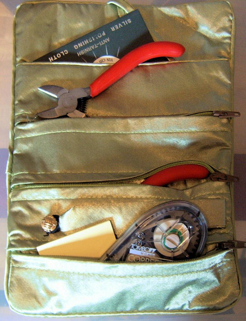 Silk Jewelry Roll Makeup Brush Accessories Case Sage Green