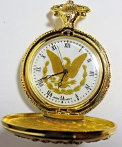 """QUARTZ POCKET WATCH WITH EAGLE GOLD TONE&14""""GOLD CHAIN& EAGLE COVER-NEW ... - $7.74"""