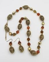 Vintage Faux Amber Plastic Filigreed Bead Necklace Pierced Earring Demi - $19.79