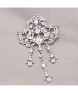 Vintage Style Wedding Bridal Rhinestone Crystal Dangle Brooch Pin Jewelry - $14.95