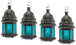 Four (4) hanging blue glass moroccan metal candle holder patio table lan... - $27.00