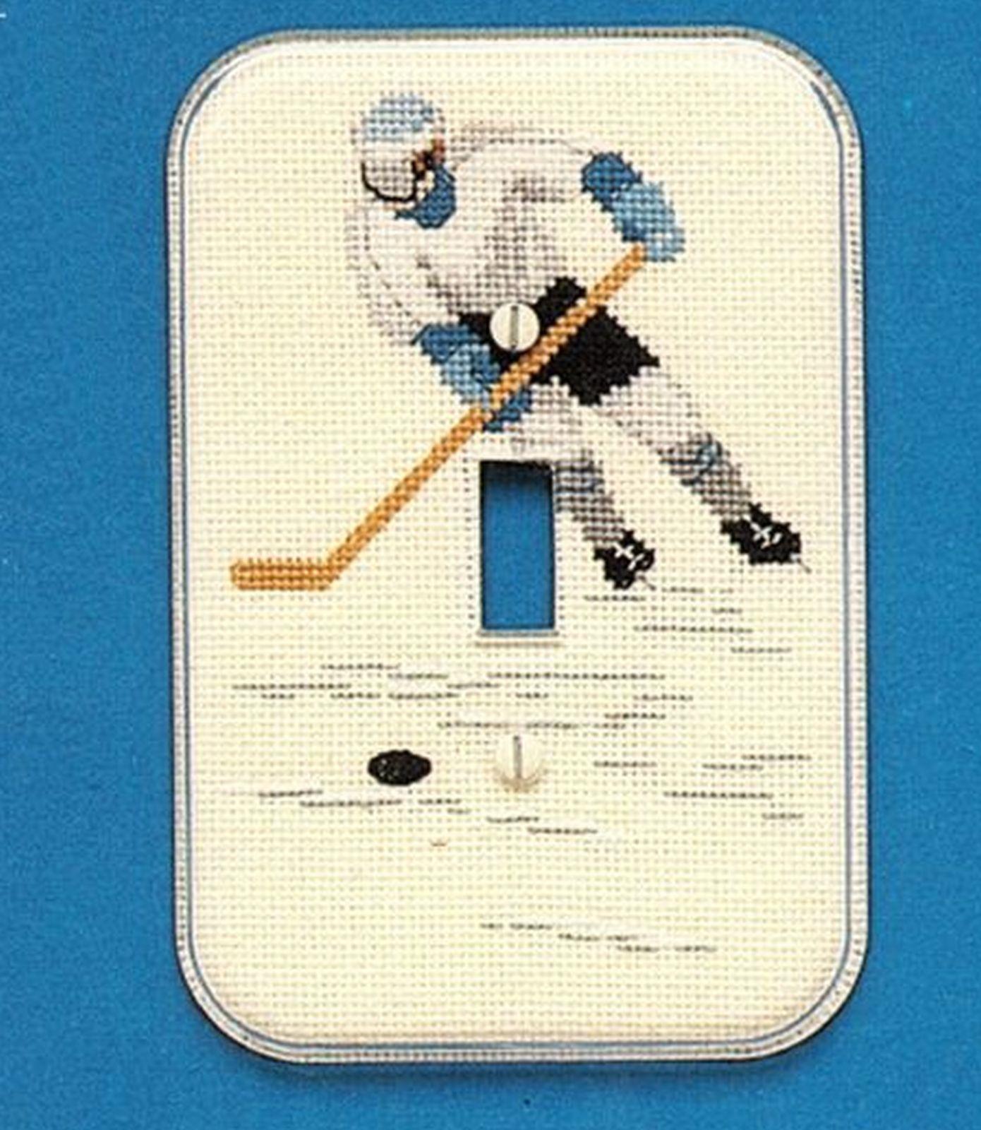 7 Cross Stitch Sports Light Switch Plate Cover Hockey Soccer Basketball Pattern