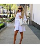 New white button down long sleeve casual women short shirt dress spring ... - $36.00