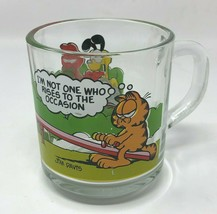 Vintage McDonalds Garfield Odie Glass Mug Im not one who rises to the Oc... - $11.87