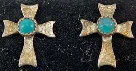 Sterling Silver Cross Shaped Earrings with Turquoise Stone in center - $25.99