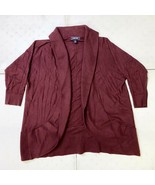Lands End 3/4 Sleeve Open Cardigan Sweater Women's Small Deep Claret Red - $24.75