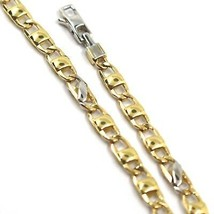 18K YELLOW WHITE GOLD CHAIN NECKLACE FLAT MARINER OVAL ROUNDED LINKS, 24... - $1,560.81