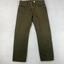 Vintage Levi's 501 Straight Leg Jeans Men's W33xL30 Green Button Fly Cotton - $34.99
