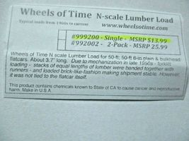Wheels of Time # 999200 Lumber Load About 3.7 inches long. N-Scale image 5