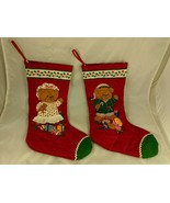 """Quilted Bear Christmas Stockings Boy Girl Lot 14"""" - $14.45"""