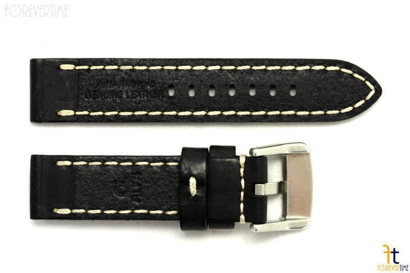ALFA 24mm Black Smooth Genuine Leather Watch Band Strap Anti-Allergic w/Stitches