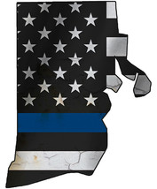 Thin Blue Line Police State of  Rhode Island Laser CutOut Metal Sign 17H... - $25.74