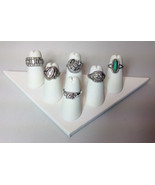 TWO 6-Finger Ring Display White Faux Leather Jewelry Showcase rings Tria... - $14.95