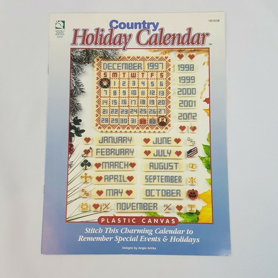 Country Holiday Calendar 1997 House of White Birches Plastic Canvas Booklet - $5.86