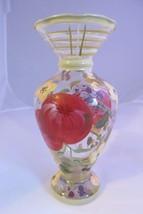 "VINTAGE Art Glass Clear 6.5"" VASE Hand Painted Apple & Floral Cottage Look  - $8.32"