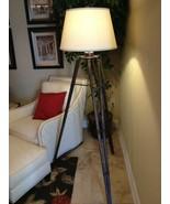Tripod Metal Floor Lamp Oxidized Bronze Round Off White Lampshade Gibson... - $395.60