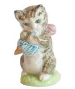 Vintage Beatrix Potter Figurine Character Miss Moppet Gold Oval Cat Animal - $59.95