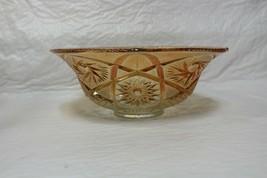 "Vintage Imperial Marigold Iridescent Carnival Cut Glass 11"" Bowl Pinwheel & Star - $35.00"