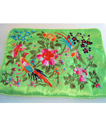 Silk Jewelry Roll Makeup Brush Accessories Case Lime Green - $10.00
