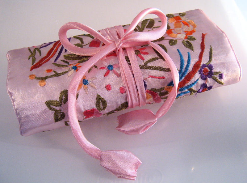 Jewelry roll silk pink  2