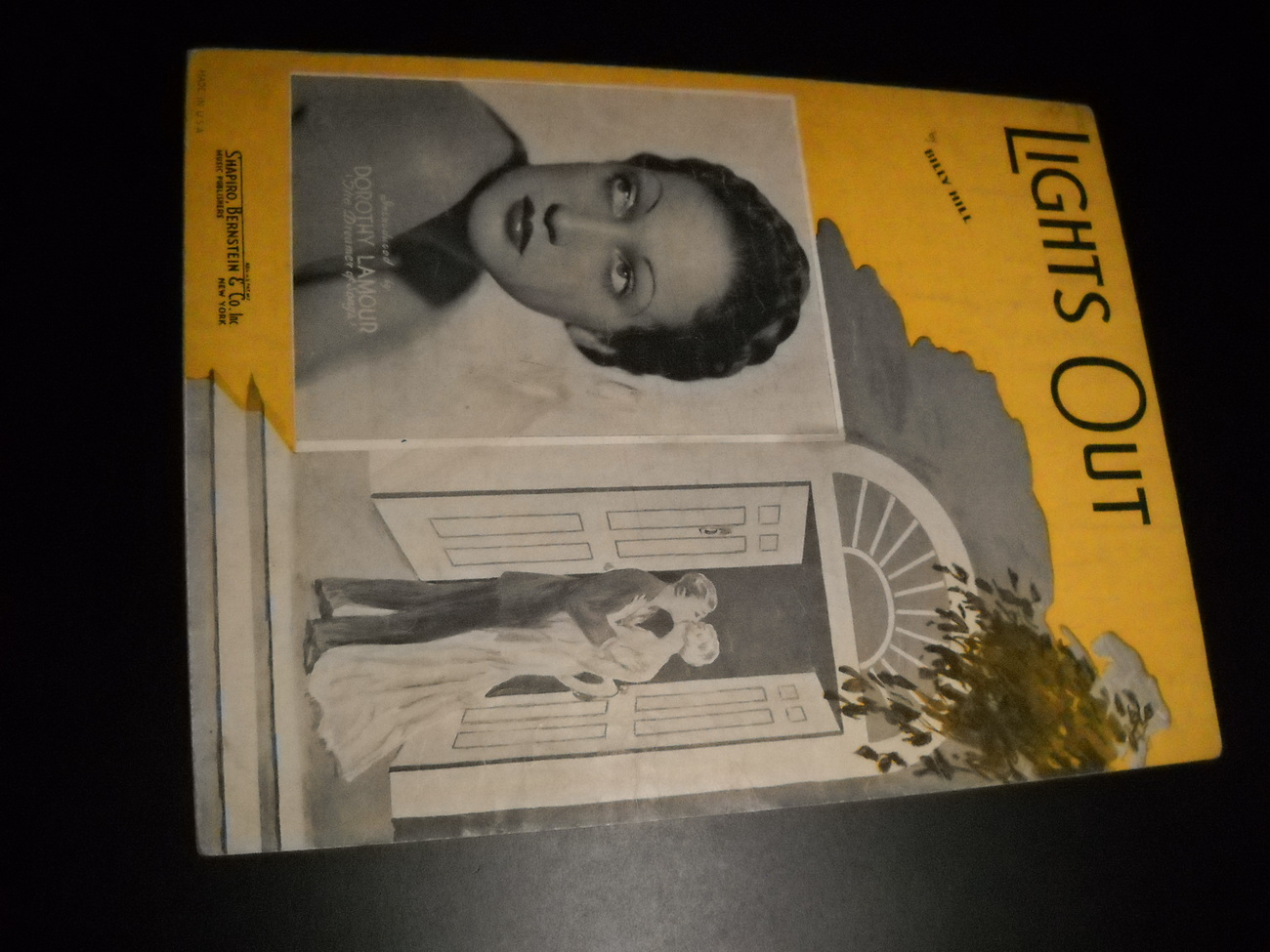 Sheet Music Lights Out Dorothy Lamour The Dreamer of Songs 1935 by Billy Hill