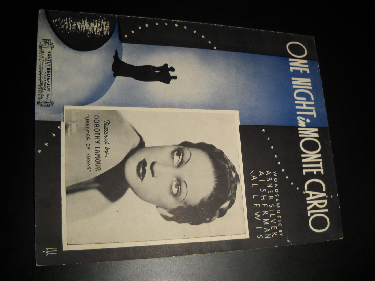 Sheet Music One Night In Monte Carlo Dorothy Lamour The Dreamer of Songs 1935