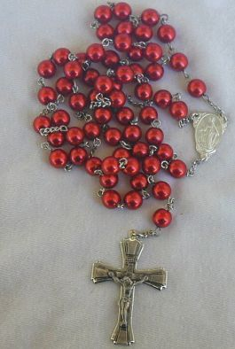 Red metal rosary