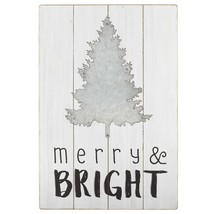 """20"""" Merry and Bright Galvanized Metal Christmas Tree Wall Hanging - $48.25"""