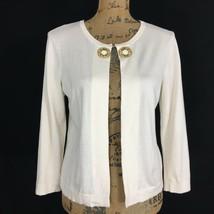 Ann Taylor LOFT Sm Cardigan Sweater Topper Ivory Bead Embellish 3/4 Sl 1 Hook LN - $12.59