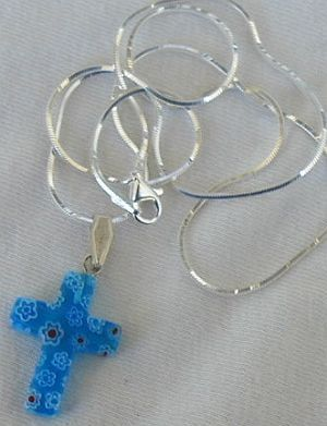 Little  blue morano Cross with flowers
