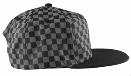 Neff Mens Black/Grey Bogie Checker Adjustable Snapback Hat Cap One Size NEW image 2