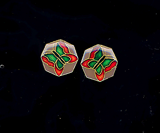 Octagon Butterfly Enameled Pierced Earrings