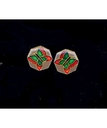 Octagon Butterfly Enameled Pierced Earrings - $3.88