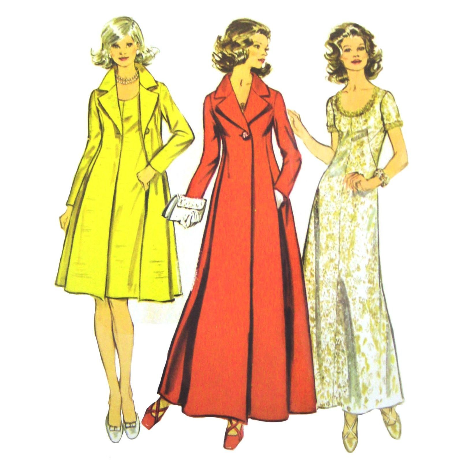 Primary image for 70s Vintage Simplicity Sewing Pattern 5351 Misses Evening Gown Dress Coat 14 FF