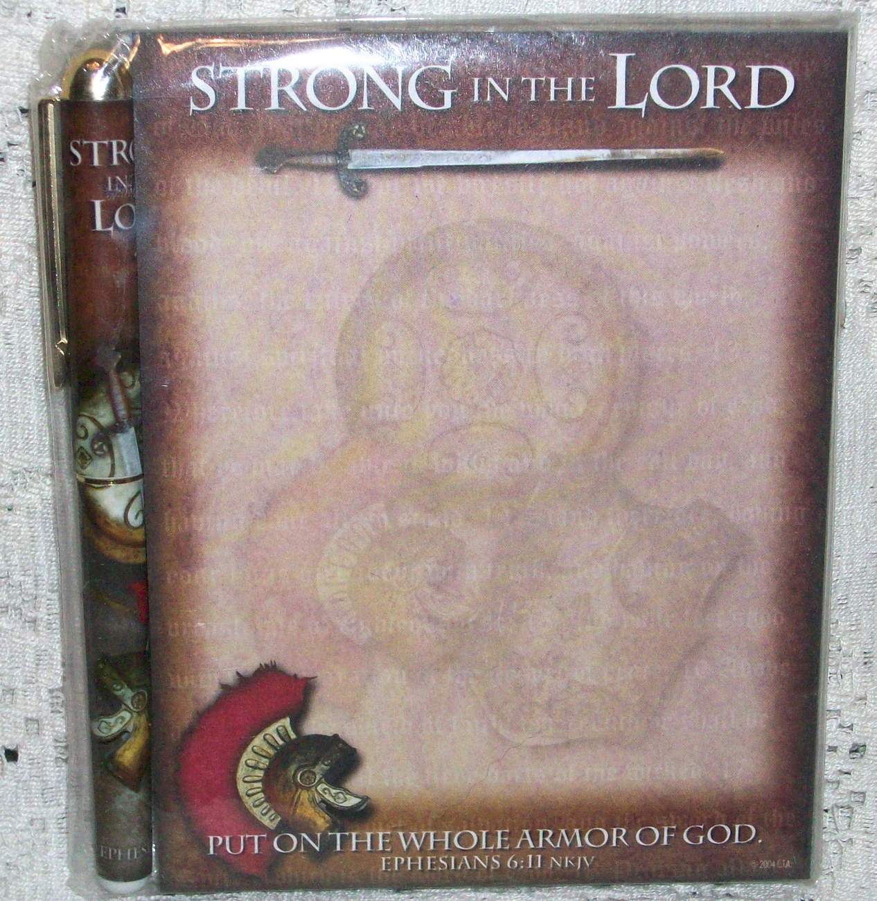 Strong in the Lord Gift Note Pad with Matching Pen New in Package Ephesians 6:11
