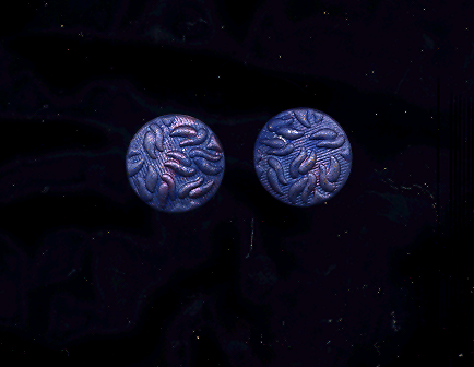 FREE WITH PURCHASE! Vintage Soft Mottled Blue Pierced Metal Earrings
