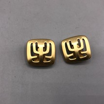 Vintage Gold Tone Modernist Clip On Earrings - $28.70